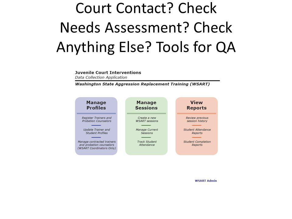 Court Contact? Check Needs Assessment? Check Anything Else? Tools for QA