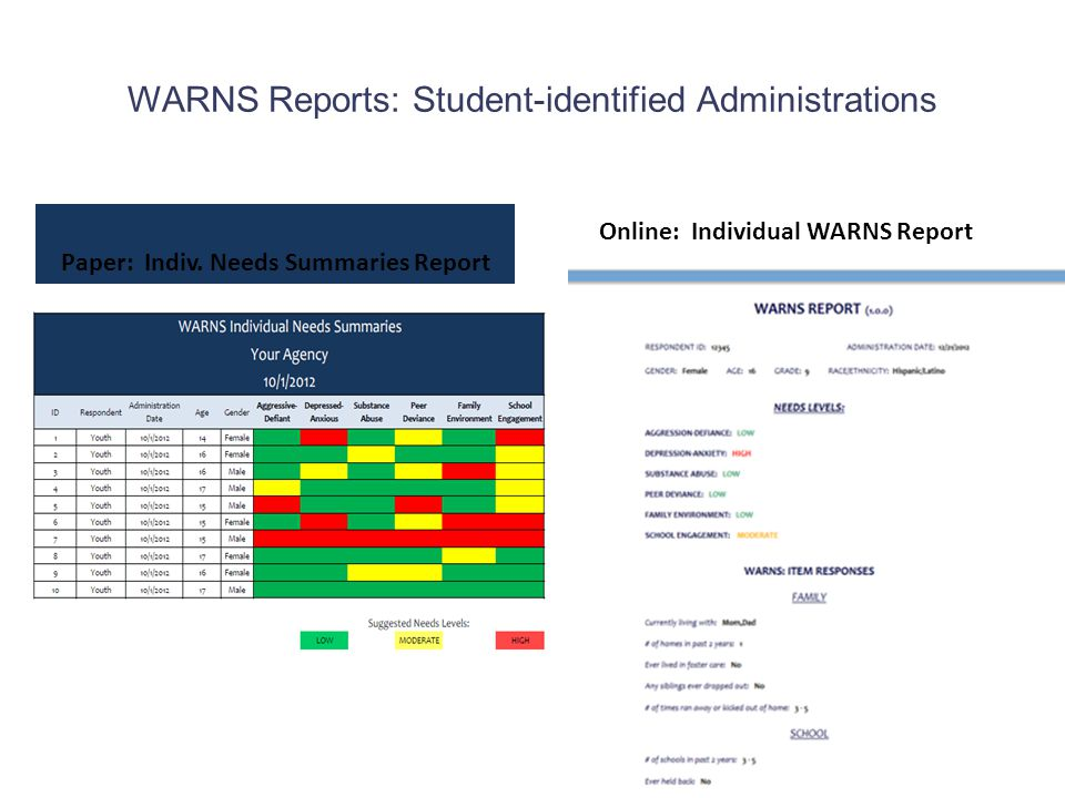 WARNS Reports: Student-identified Administrations Paper: Indiv. Needs Summaries Report Online: Individual WARNS Report