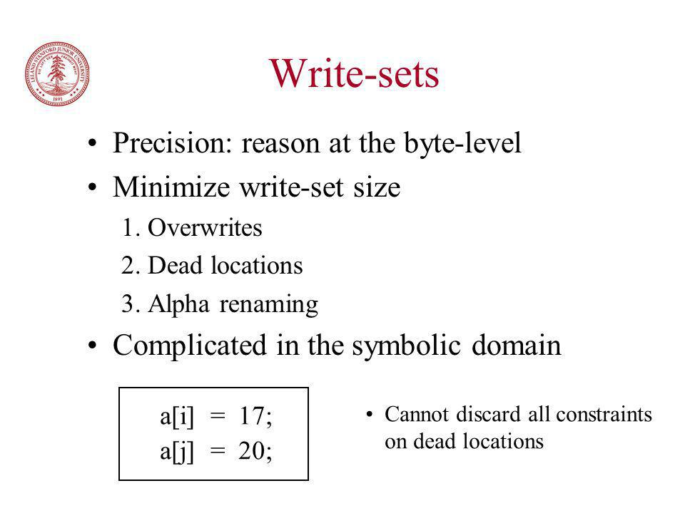 Write-sets Precision: reason at the byte-level Minimize write-set size 1.