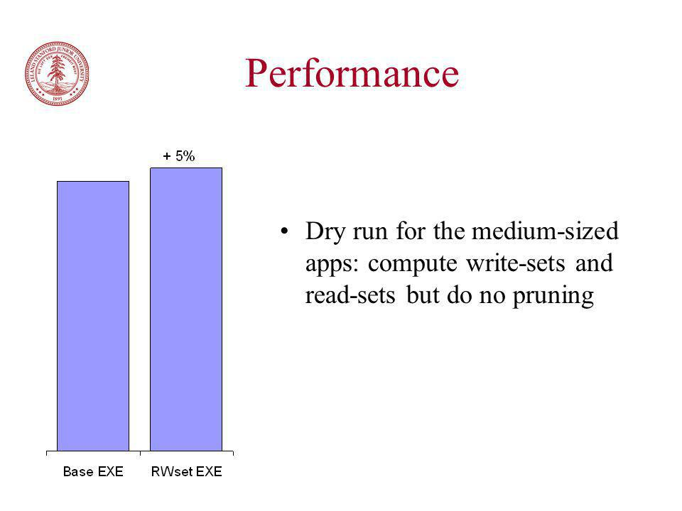 Performance Dry run for the medium-sized apps: compute write-sets and read-sets but do no pruning