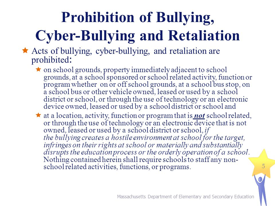 Prohibition of Bullying, Cyber-Bullying and Retaliation Acts of bullying, cyber-bullying, and retaliation are prohibited : on school grounds, property