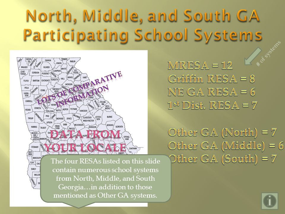 # of systems The four RESAs listed on this slide contain numerous school systems from North, Middle, and South Georgia…in addition to those mentioned as Other GA systems.