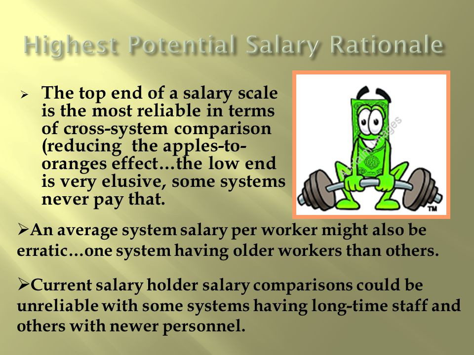 The top end of a salary scale is the most reliable in terms of cross-system comparison (reducing the apples-to- oranges effect…the low end is very elusive, some systems never pay that.