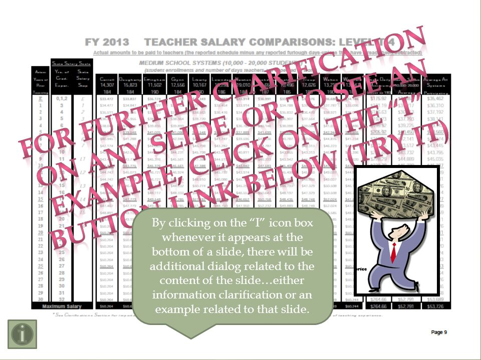 School systems ranked by salary paid Sample System: Cobb County Ranked 12 th in T-5 Top Salary $3, 731 (6.1%) above All Sys.