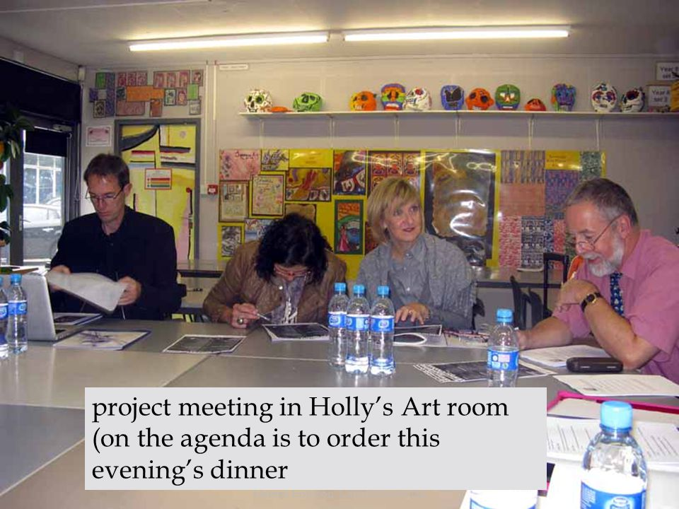 Heléne Ericsson, Carlshöjdsskolan project meeting in Hollys Art room (on the agenda is to order this evenings dinner
