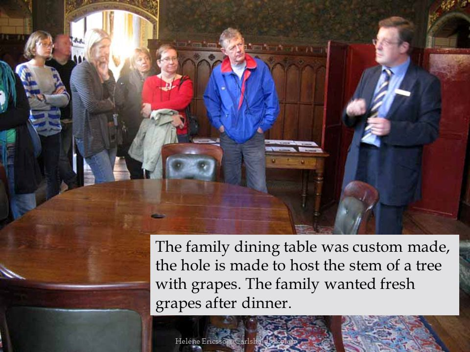The family dining table was custom made, the hole is made to host the stem of a tree with grapes. The family wanted fresh grapes after dinner.