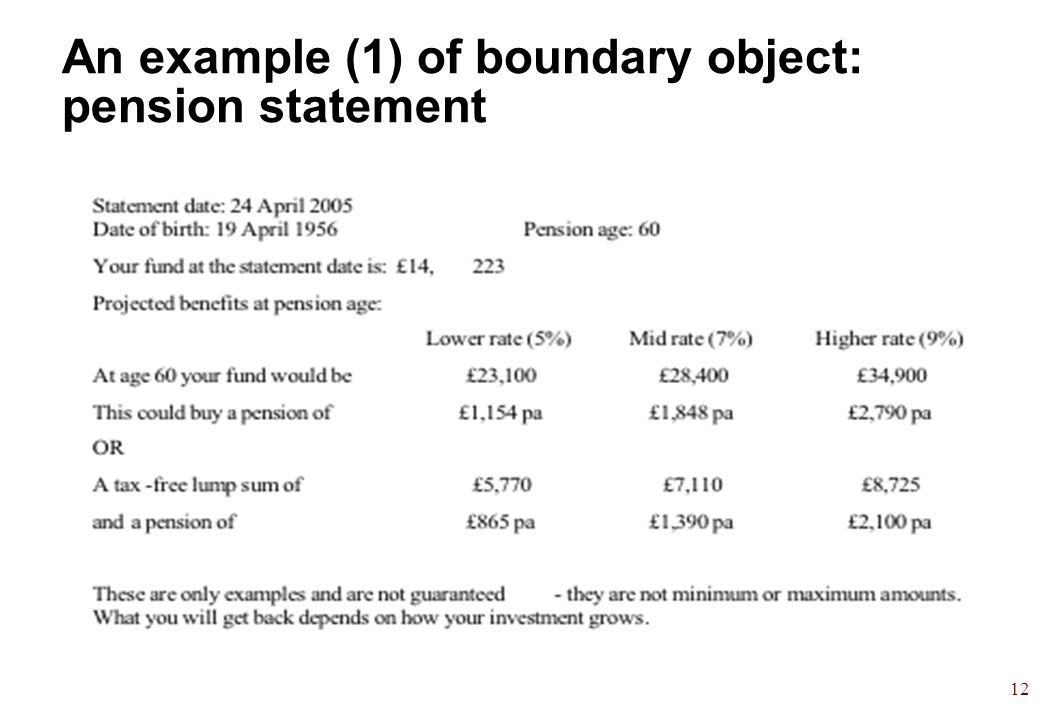 12 An example (1) of boundary object: pension statement