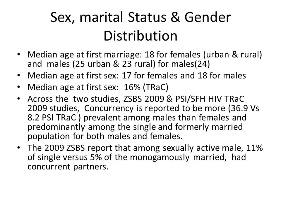 Sex, marital Status & Gender Distribution Median age at first marriage: 18 for females (urban & rural) and males (25 urban & 23 rural) for males(24) M