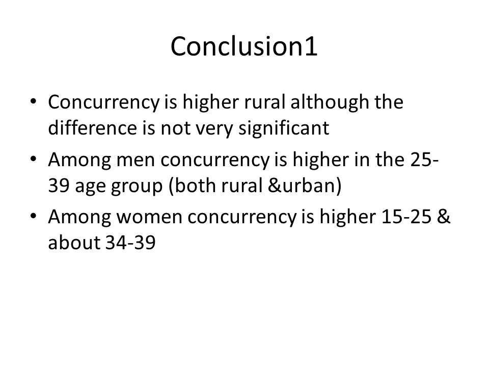 Conclusion1 Concurrency is higher rural although the difference is not very significant Among men concurrency is higher in the 25- 39 age group (both