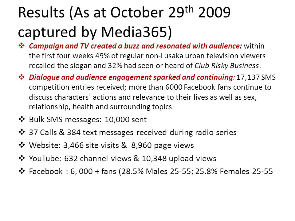 Results (As at October 29 th 2009 captured by Media365) Campaign and TV created a buzz and resonated with audience: within the first four weeks 49% of