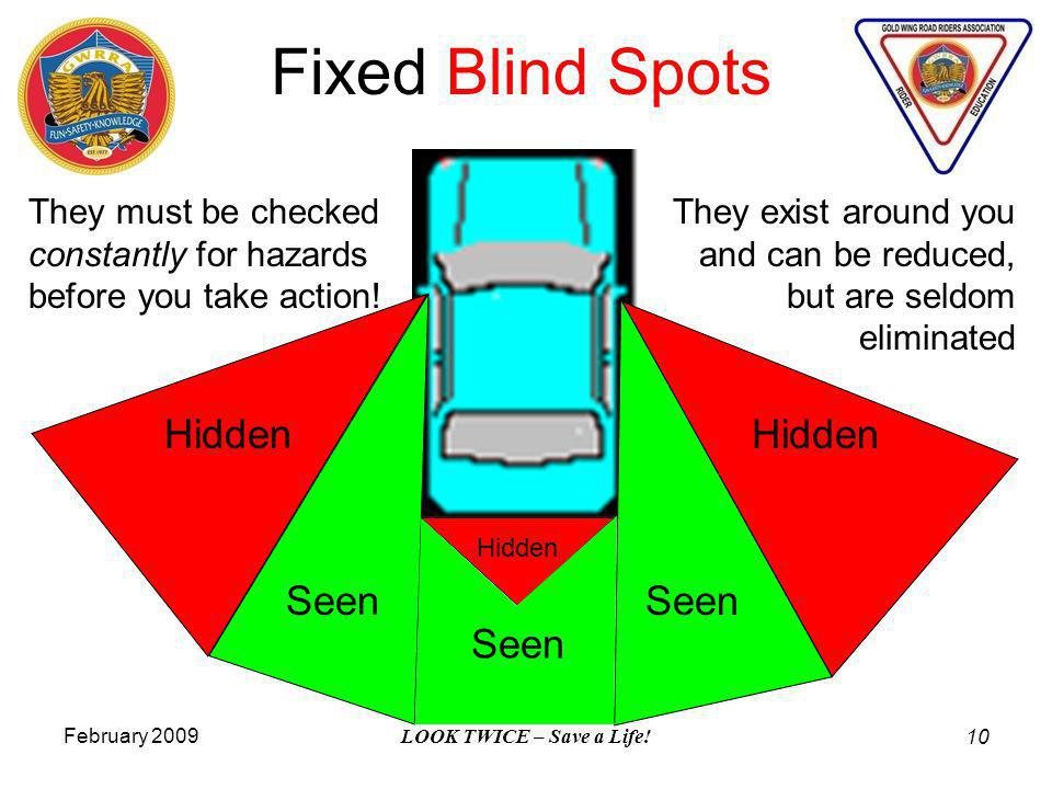 February 2009 LOOK TWICE – Save a Life! 10 Fixed Blind Spots Hidden Seen They exist around you and can be reduced, but are seldom eliminated They must