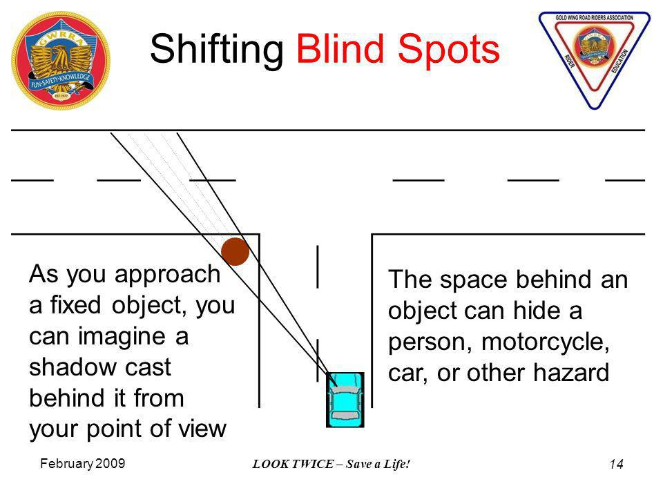 February 2009 LOOK TWICE – Save a Life! 14 Shifting Blind Spots As you approach a fixed object, you can imagine a shadow cast behind it from your poin