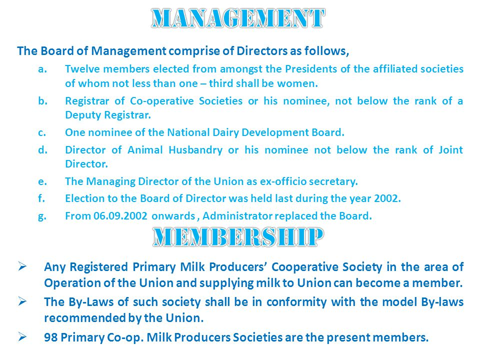 The Board of Management comprise of Directors as follows, a.Twelve members elected from amongst the Presidents of the affiliated societies of whom not