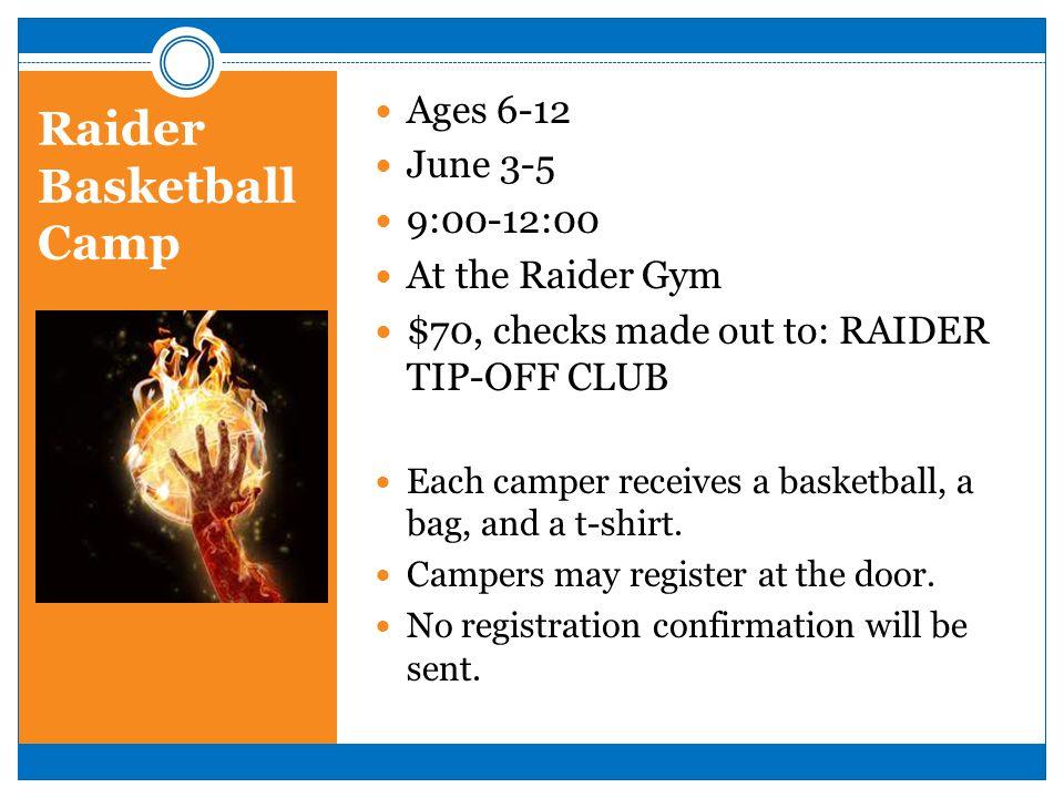 Raider Basketball Camp Ages 6-12 June 3-5 9:00-12:00 At the Raider Gym $70, checks made out to: RAIDER TIP-OFF CLUB Each camper receives a basketball,