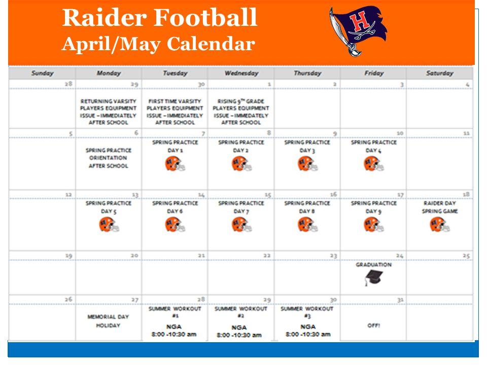 Raider Football April/May Calendar
