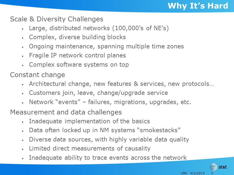 CRK 6/2/20143 Why Its Hard Scale & Diversity Challenges Large, distributed networks (100,000s of NEs) Complex, diverse building blocks Ongoing mainten