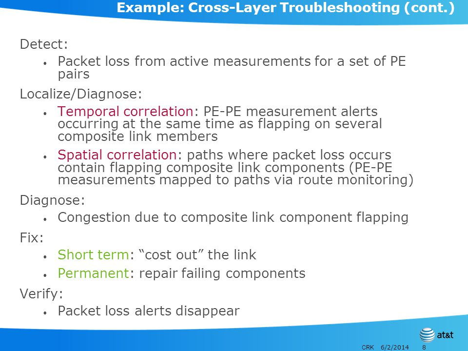 CRK 6/2/20148 Example: Cross-Layer Troubleshooting (cont.) Detect: Packet loss from active measurements for a set of PE pairs Localize/Diagnose: Temporal correlation: PE-PE measurement alerts occurring at the same time as flapping on several composite link members Spatial correlation: paths where packet loss occurs contain flapping composite link components (PE-PE measurements mapped to paths via route monitoring) Diagnose: Congestion due to composite link component flapping Fix: Short term: cost out the link Permanent: repair failing components Verify: Packet loss alerts disappear