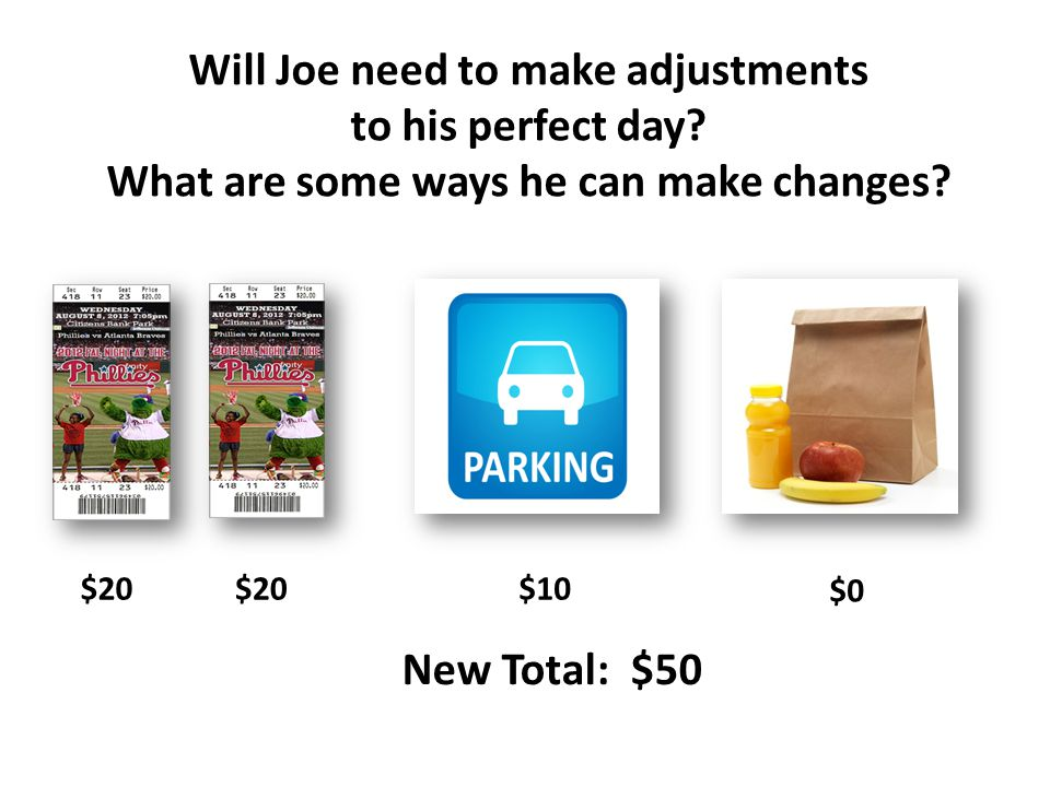 Will Joe need to make adjustments to his perfect day.