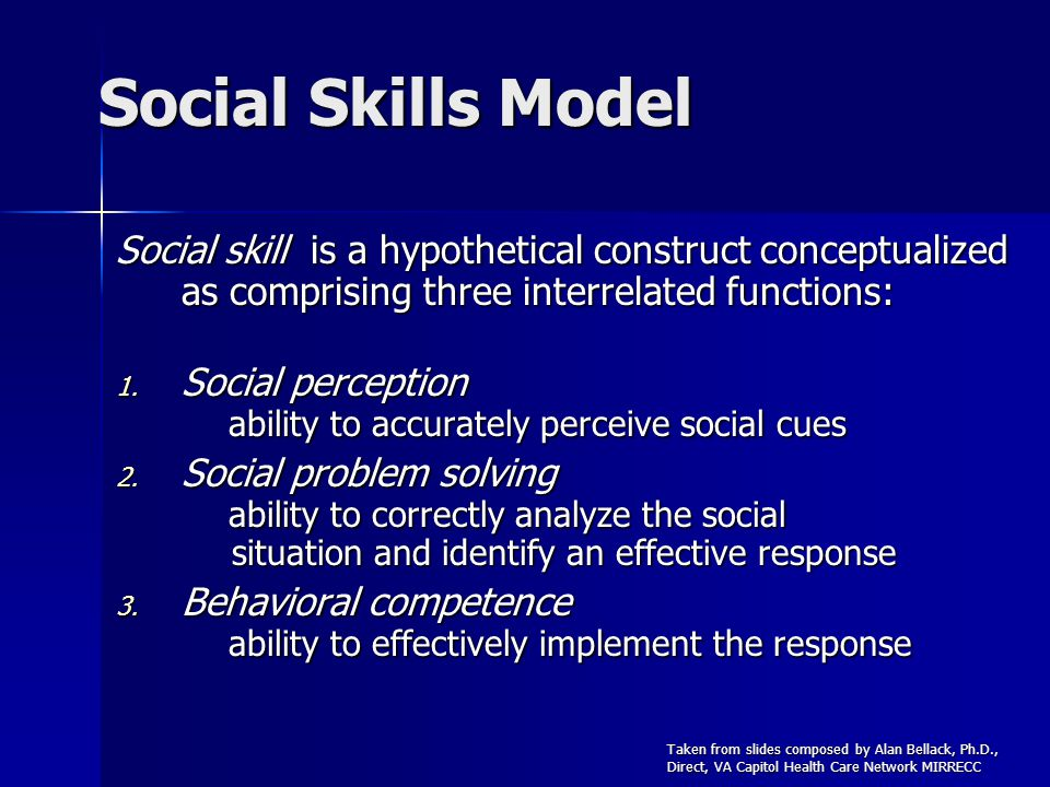Social Skills Model Social skill is a hypothetical construct conceptualized as comprising three interrelated functions: 1. Social perception ability t