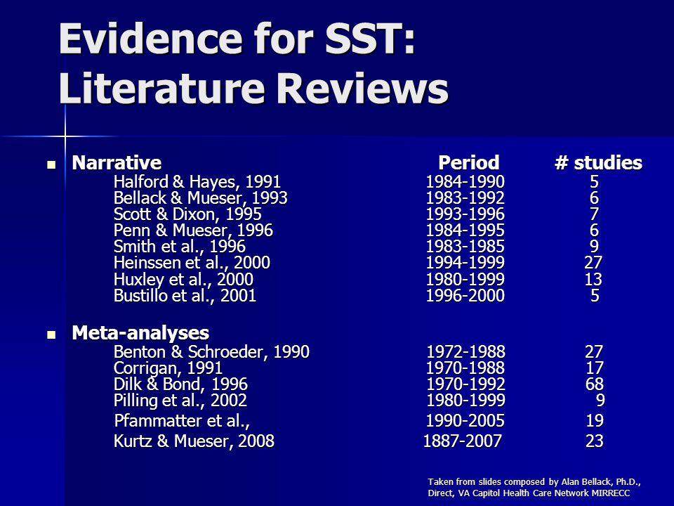 Evidence for SST: Literature Reviews Narrative Period # studies Halford & Hayes, 1991 1984-1990 5 Bellack & Mueser, 1993 1983-1992 6 Scott & Dixon, 19
