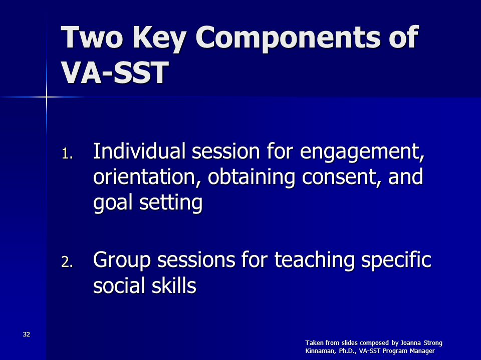 32 Two Key Components of VA-SST 1. Individual session for engagement, orientation, obtaining consent, and goal setting 2. Group sessions for teaching