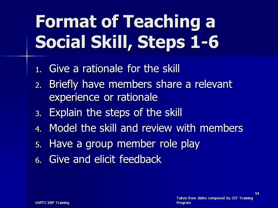 Format of Teaching a Social Skill, Steps 1-6 1. Give a rationale for the skill 2. Briefly have members share a relevant experience or rationale 3. Exp