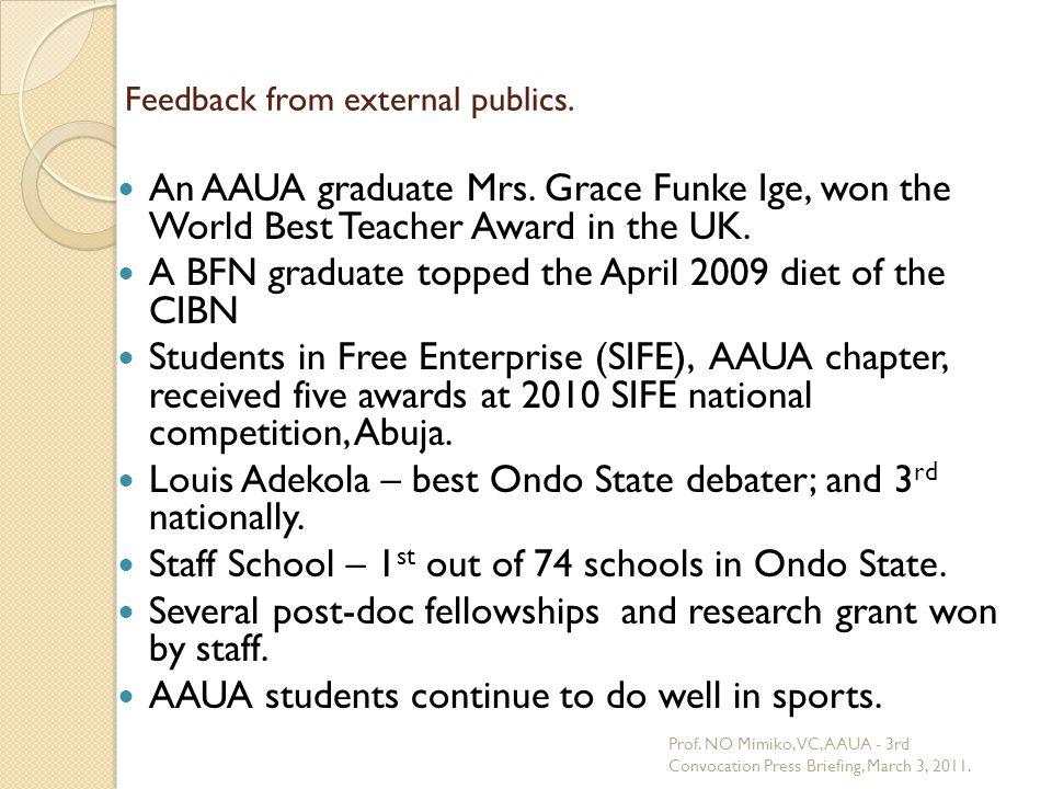 Feedback from external publics. An AAUA graduate Mrs. Grace Funke Ige, won the World Best Teacher Award in the UK. A BFN graduate topped the April 200