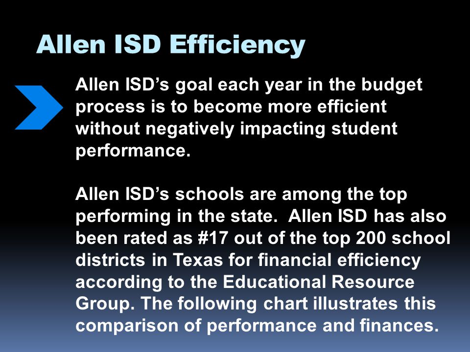 Allen ISD Efficiency Allen ISDs goal each year in the budget process is to become more efficient without negatively impacting student performance.