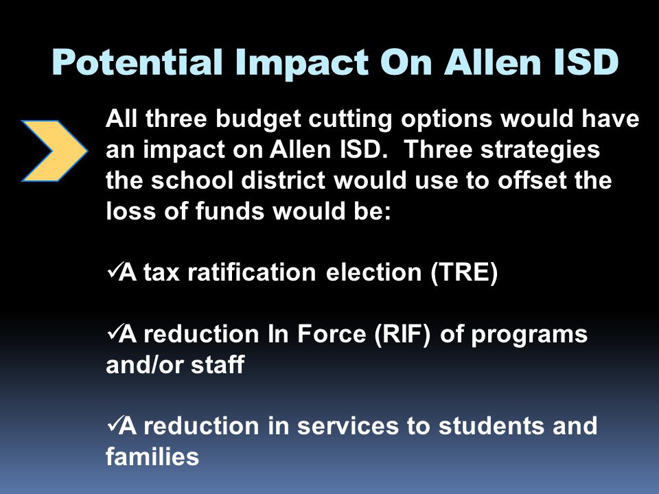 Potential Impact On Allen ISD All three budget cutting options would have an impact on Allen ISD.