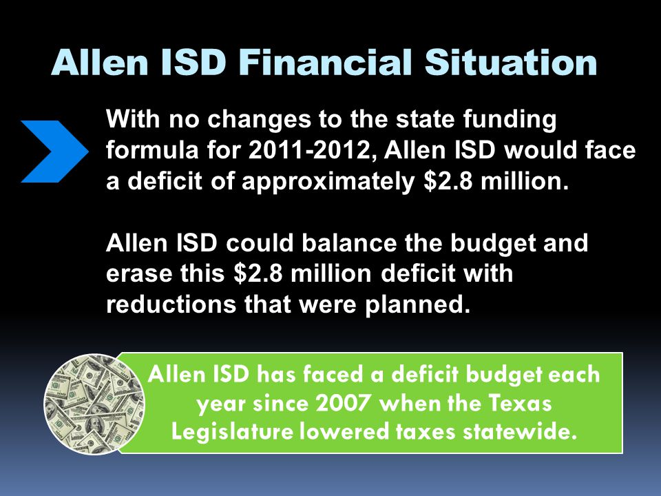 Allen ISD Financial Situation Proposed legislation (HB1 and SB1) would reduce state funding to Allen ISD by an additional $18 - $23 million.