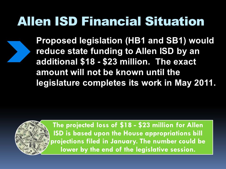 Allen ISD Financial Situation Proposed legislation (HB1 and SB1) would reduce state funding to Allen ISD by an additional $18 - $23 million. The exact