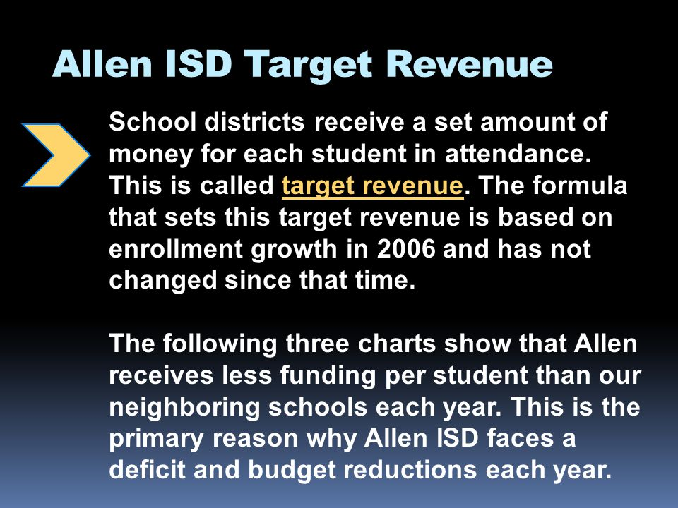 Allen ISD Target Revenue School districts receive a set amount of money for each student in attendance.