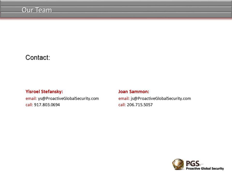 Yisroel Stefansky: email: ys@ProactiveGlobalSecurity.com call: 917.803.0694 Contact: Joan Sammon: email: js@ProactiveGlobalSecurity.com call: 206.715.