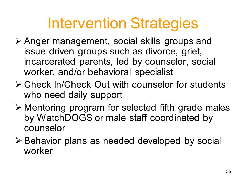 35 Intervention Strategies Anger management, social skills groups and issue driven groups such as divorce, grief, incarcerated parents, led by counsel