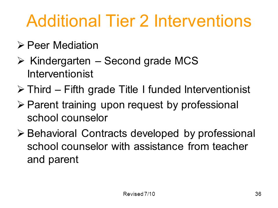 Additional Tier 2 Interventions Peer Mediation Kindergarten – Second grade MCS Interventionist Third – Fifth grade Title I funded Interventionist Pare