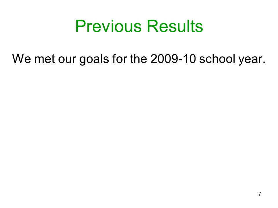7 Previous Results We met our goals for the 2009-10 school year.
