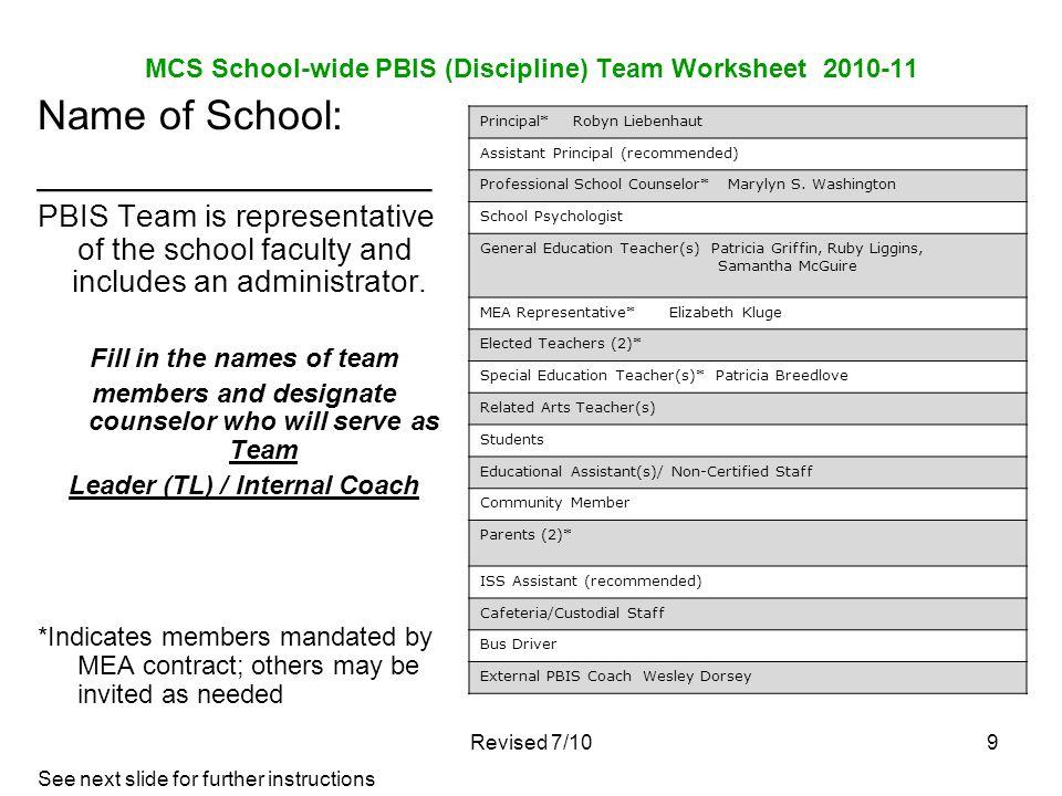 MCS School-wide PBIS (Discipline) Team Worksheet 2010-11 Name of School: _________________ PBIS Team is representative of the school faculty and inclu