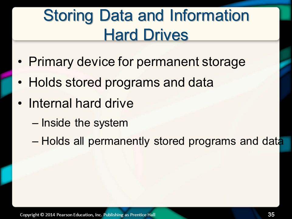 Storing Data and Information Hard Drives Primary device for permanent storage Holds stored programs and data Internal hard drive –Inside the system –H