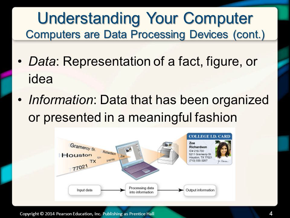 Understanding Your Computer Computers are Data Processing Devices (cont.) Data: Representation of a fact, figure, or idea Information: Data that has b