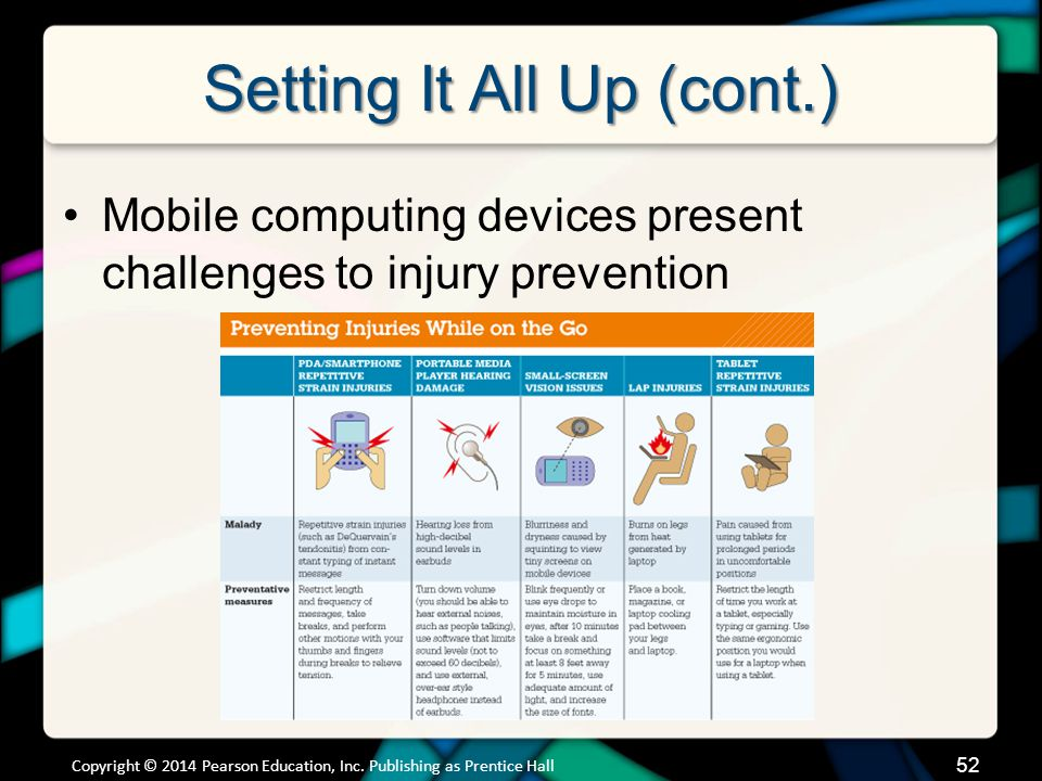 Setting It All Up (cont.) Mobile computing devices present challenges to injury prevention Copyright © 2014 Pearson Education, Inc. Publishing as Pren
