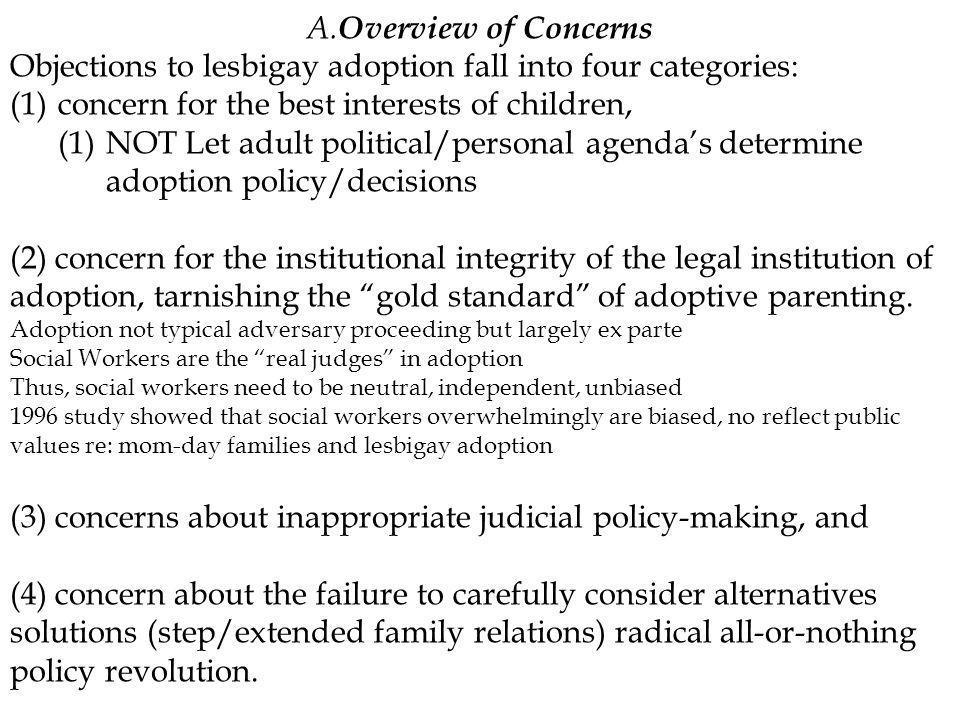 A. Overview of Concerns Objections to lesbigay adoption fall into four categories: (1)concern for the best interests of children, (1)NOT Let adult pol