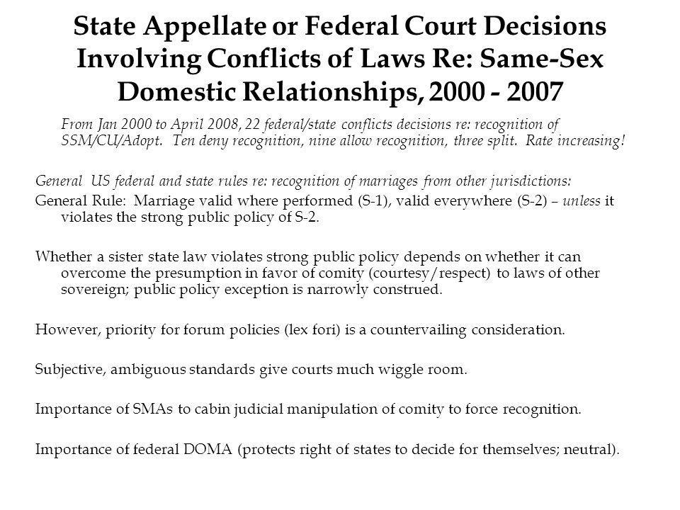 State Appellate or Federal Court Decisions Involving Conflicts of Laws Re: Same-Sex Domestic Relationships, 2000 - 2007 From Jan 2000 to April 2008, 22 federal/state conflicts decisions re: recognition of SSM/CU/Adopt.