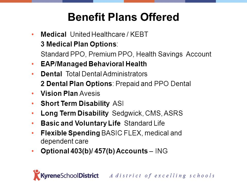 A d i s t r i c t o f e x c e l l i n g s c h o o l s Benefit Plans Offered Medical United Healthcare / KEBT 3 Medical Plan Options: Standard PPO, Premium PPO, Health Savings Account EAP/Managed Behavioral Health Dental Total Dental Administrators 2 Dental Plan Options: Prepaid and PPO Dental Vision Plan Avesis Short Term Disability ASI Long Term Disability Sedgwick, CMS, ASRS Basic and Voluntary Life Standard Life Flexible Spending BASIC FLEX, medical and dependent care Optional 403(b)/ 457(b) Accounts – ING