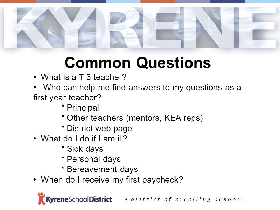 A d i s t r i c t o f e x c e l l i n g s c h o o l s Kyrenes 3 Divisions Superintendent Support Services Educational Services Human Resource Services