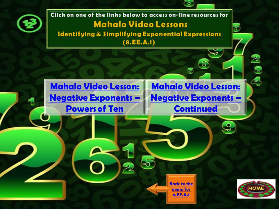 Back to the menu for 8.EE.A.1 Mahalo Video Lesson: Negative Exponents – Powers of Ten Mahalo Video Lesson: Negative Exponents – Continued