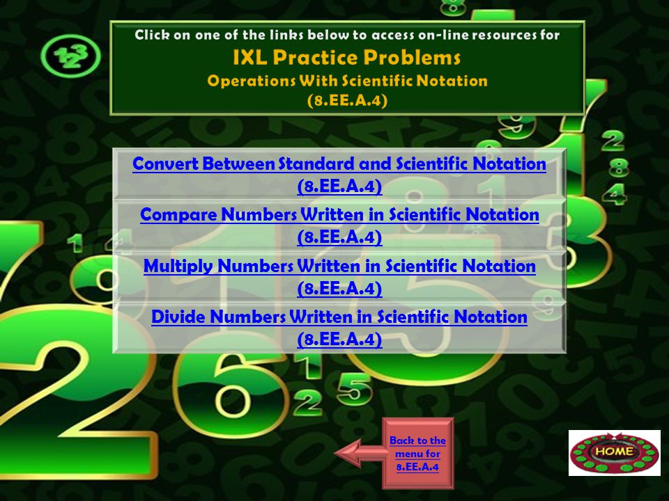 Convert Between Standard and Scientific Notation (8.EE.A.4) Compare Numbers Written in Scientific Notation (8.EE.A.4) Multiply Numbers Written in Scie