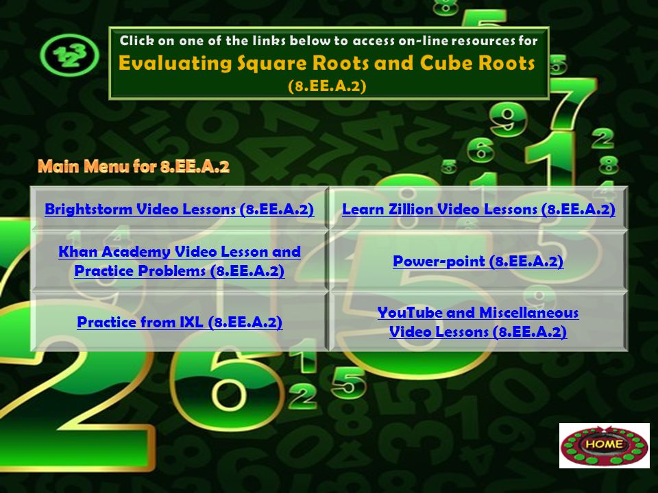 Brightstorm Video Lessons (8.EE.A.2)Learn Zillion Video Lessons (8.EE.A.2) Khan Academy Video Lesson and Practice Problems (8.EE.A.2) Power-point (8.E