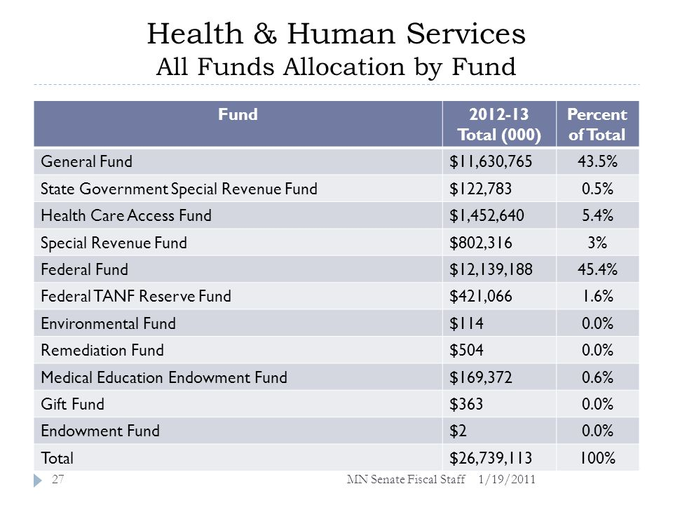 Health & Human Services All Funds Allocation by Fund 1/19/201127 Fund2012-13 Total (000) Percent of Total General Fund$11,630,76543.5% State Government Special Revenue Fund$122,7830.5% Health Care Access Fund$1,452,6405.4% Special Revenue Fund$802,3163% Federal Fund$12,139,18845.4% Federal TANF Reserve Fund$421,0661.6% Environmental Fund$1140.0% Remediation Fund$5040.0% Medical Education Endowment Fund$169,3720.6% Gift Fund$3630.0% Endowment Fund$20.0% Total$26,739,113100% MN Senate Fiscal Staff