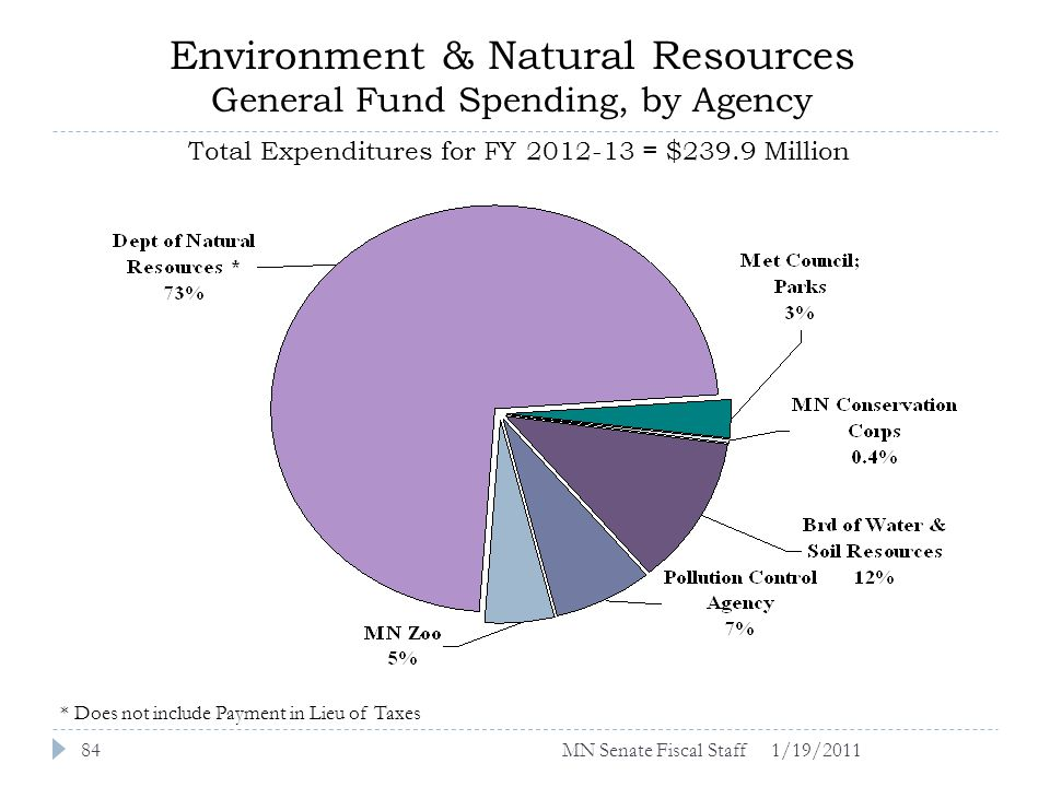 Environment & Natural Resources General Fund Spending, by Agency Total Expenditures for FY 2012-13 = $239.9 Million 1/19/201184 * Does not include Payment in Lieu of Taxes MN Senate Fiscal Staff