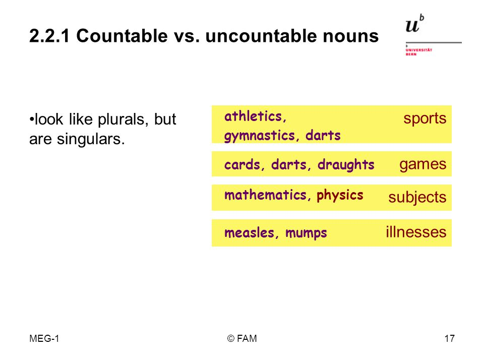 MEG-1© FAM16 2.2.1 Countable vs. uncountable nouns do not take a concrete quantifier (e.g. a number adjective). always singular, do not take a take si